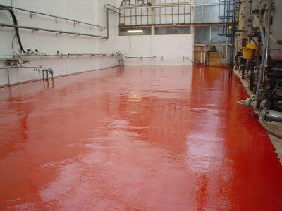 Pavimento de resina color rojo