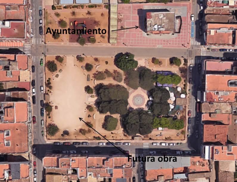 Emplazamiento futura obra hormigón drenante en plaza mayor de Almussafes, Valencia