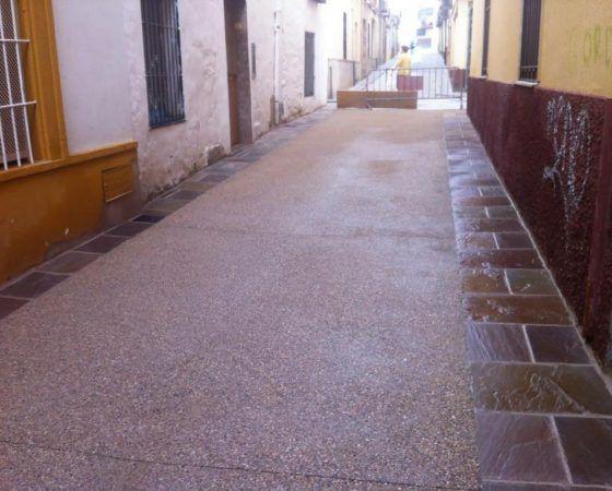 Calle de hormigón desactivado en Úbeda Jaén